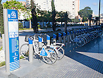málagabici bicycle sharing scheme city centre Malaga, Spain