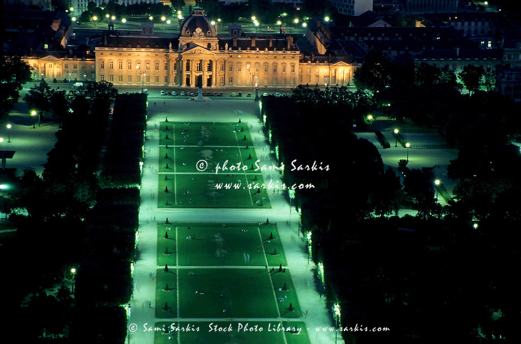 École Militaire and Champ de Mars at night as seen from the Eiffel Tower, Paris, France.