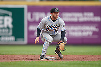 Akron RubberDucks second baseman Tyler Friis (38) waits for a throw during an Eastern League game against the Erie SeaWolves on June 2, 2019 at UPMC Park in Erie, Pennsylvania.  Akron defeated Erie 7-2 in the first game of a doubleheader.  (Mike Janes/Four Seam Images)