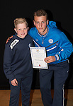 St Johnstone FC Academy Awards Night...06.04.15  Perth Concert Hall<br /> Ally Gilchrist presents a certificate to Harris McIntosh<br /> Picture by Graeme Hart.<br /> Copyright Perthshire Picture Agency<br /> Tel: 01738 623350  Mobile: 07990 594431