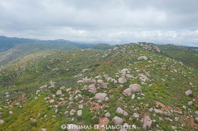 An aerial landscape of the mountains near La Jolla, California.