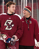 Chris Calnan (BC - 11), Mike Ayers (BC - Assistant Coach) - The Boston College Eagles practiced at Fenway on Friday, January 6, 2017, in Boston, Massachusetts.
