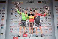 2017 Belgian National Championships podium - Elite Men - Road Race (NC):<br /> 1/ Oliver Naesen (BEL/AG2R-LaMondiale)<br /> 2/ Sep Vanmarcke (BEL/Cannondale-Drapac)<br /> 3/ Jasper Stuyven (BEL/Trek-Segafredo)<br /> <br /> 1 Day Race: Antwerpen > Antwerpen (233km)