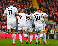 Burnley players celebrate after Ashley Westwood scored direct from a corner<br /> <br /> Photographer Alex Dodd/CameraSport<br /> <br /> The Premier League - Liverpool v Burnley - Sunday 10th March 2019 - Anfield - Liverpool<br /> <br /> World Copyright © 2019 CameraSport. All rights reserved. 43 Linden Ave. Countesthorpe. Leicester. England. LE8 5PG - Tel: +44 (0) 116 277 4147 - admin@camerasport.com - www.camerasport.com