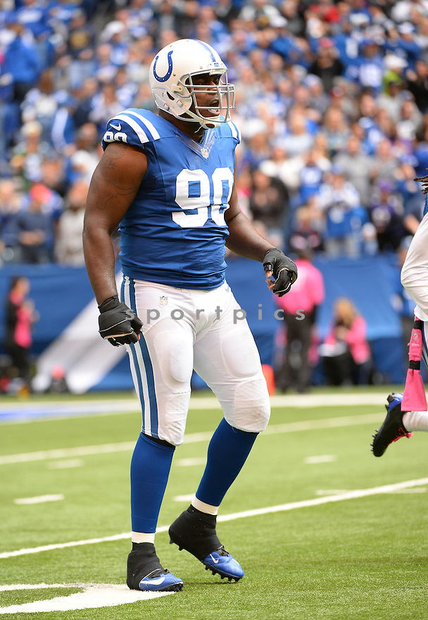 Indianapolis Colts Cory Redding (90) during a game against the Baltimore Ravens on October 5, 2014 at Lucas Oil Stadium in Indianapolis, IN. The Colts beat the Ravens 20-13.