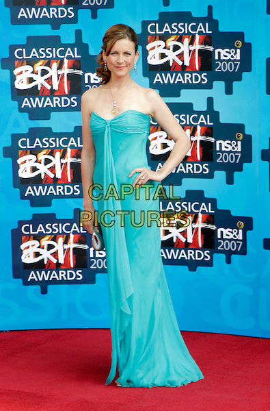 KATIE DERHAM.The Classical Brit Awards 2007, Royal Albert Hall, London, England. .May 3rd, 2007.full length green dress blue turquoise strapless silver clutch purse hand on hip .CAP/AH.©Adam Houghton/Capital Pictures
