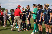 Cary, North Carolina  - Saturday April 29, 2017: Joe Sahlen, and Samantha Mewis during a pregame ceremony honoring the Western New York Flash for winning the 2016 NWSL championship prior to regular season National Women's Soccer League (NWSL) match between the North Carolina Courage and the Orlando Pride at Sahlen's Stadium at WakeMed Soccer Park.