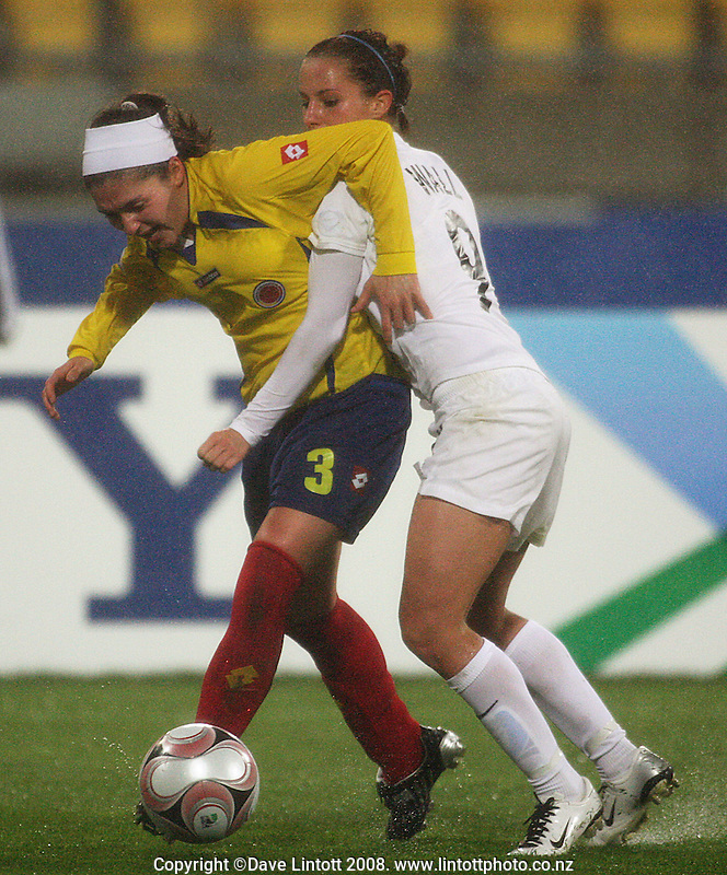 Columbia's Natalie Gaitan holds off Hannah Wall during the FIFA Women's Under-17 World Cup pool match between New Zealand and Columbia at Westpac Stadium, Wellington, New Zealand on Tuesday, 4 November 2008. Photo: Dave Lintott / lintottphoto.co.nz