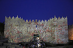 Israel, Jerusalem, Damascus Gate at the Light in Jerusalem festival