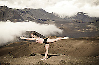 Yoga in the clouds at Haleakala Crater, Maui.