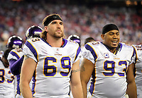 Dec 6, 2009; Glendale, AZ, USA; Minnesota Vikings defensive end (69) Jared Allen and defensive tackle (93) Kevin Williams against the Arizona Cardinals at University of Phoenix Stadium. The Cardinals defeated the Vikings 30-17. Mandatory Credit: Mark J. Rebilas-