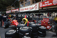 MONTE CARLO - JUNE 3: The Ferrari F126C4 076/Ferrari 031 of Michele Alboreto in the pit lane before practice for the Monaco Grand Prix on June 3, 1984, at the Circuit de Monaco in Monte Carlo, Monaco.