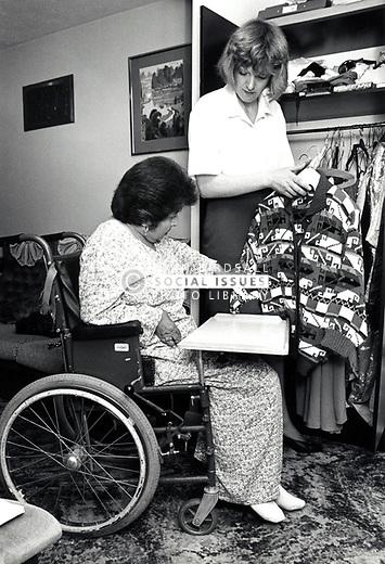 Carer & elderly woman UK 1992