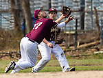 WATERBURY,  CT-041319JS18- Sacred Heart's Hector Alejandro (27) makes an over the shoulder, diving catch, as he and Andrew Pelletier (12) run down a pop-fly during their game with Watertown Saturday at Waterville Park in Waterbury. <br /> Jim Shannon Republican American