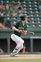 Right fielder Tyler Esplin (25) of the Greenville Drive bats in a game against the West Virginia Power on Sunday, May 19, 2019, at Fluor Field at the West End in Greenville, South Carolina. Greenville won, 8-4. (Tom Priddy/Four Seam Images)