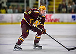 24 November 2012: University of Minnesota Golden Gopher defenseman Mike Reilly, a Freshman from Chanhassen, MN, in action against the University of Vermont Catamounts at Gutterson Fieldhouse in Burlington, Vermont. The Gophers defeated the Catamounts 3-1 in the second game of their 2-game non-divisional weekend series. Mandatory Credit: Ed Wolfstein Photo