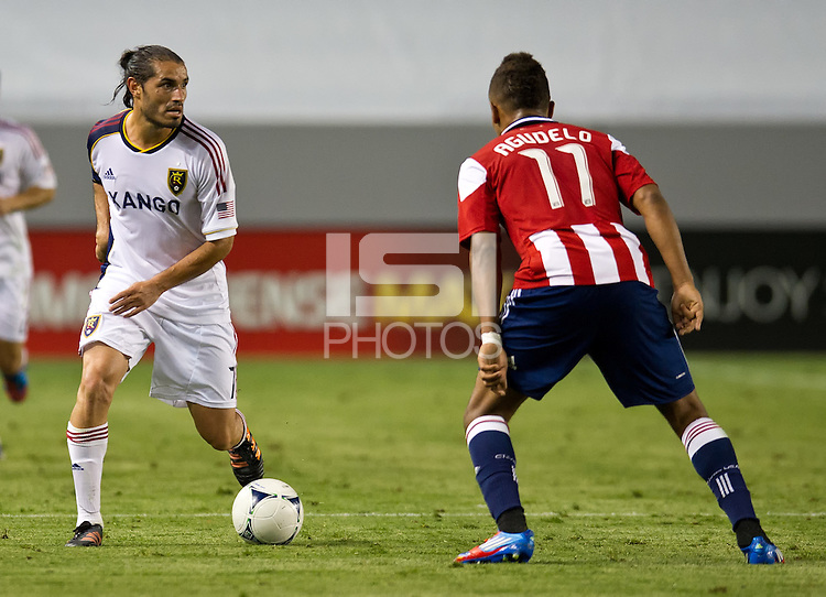 CARSON, CA - June 16, 2012: Real Salt Lake forward Fabian Espindola (7) during the Chivas USA vs Real Salt Lake match at the Home Depot Center in Carson, California. Final score Real Salt Lake 3, Chivas USA 0.