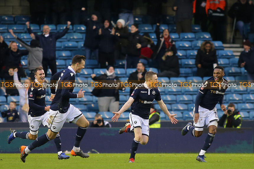 Shane Ferguson celebrates scoring Millwall's second goal during Millwall vs Hull City, Emirates FA Cup Football at The Den on 6th January 2019