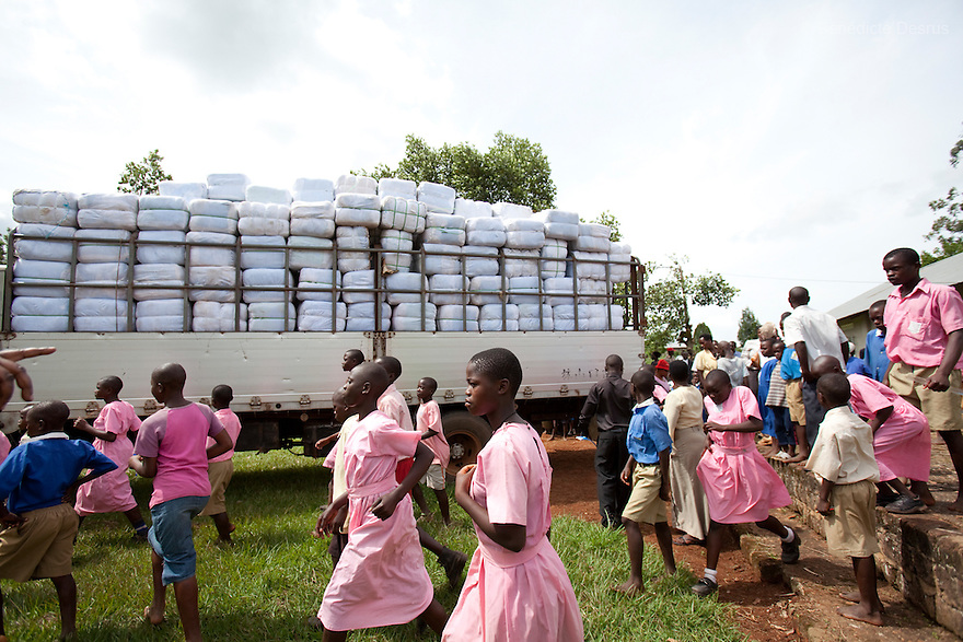 For PSI (USA)<br /> <br /> Distribution of insecticide-treated mosquito nets in communities in Uganda, East Africa<br /> <br /> Ugandan school children at the launch in Nnama Sub county, Mukono District celebrate the arrival of nets in their communities.