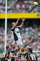 Ollie Kohn looks to win lineout ball. Aviva Premiership Double Header match, between London Wasps and Harlequins on September 1, 2012 at Twickenham Stadium in London, England. Photo by: Patrick Khachfe / Onside Images