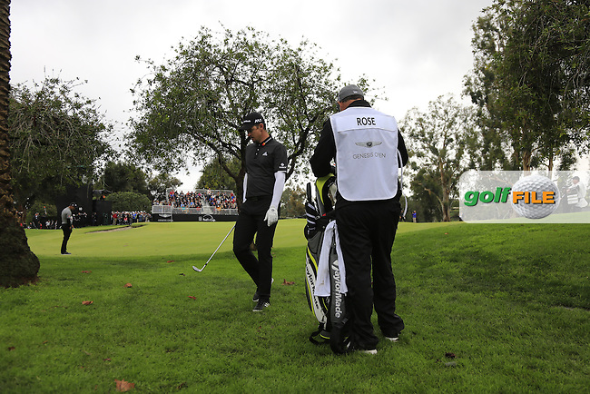 Justin Rose (ENG) in the trees at the 10th green during Saturday's rain delayed Round 2 of the 2017 Genesis Open held at The Riviera Country Club, Los Angeles, California, USA. 18th February 2017.<br /> Picture: Eoin Clarke | Golffile<br /> <br /> <br /> All photos usage must carry mandatory copyright credit (&copy; Golffile | Eoin Clarke)