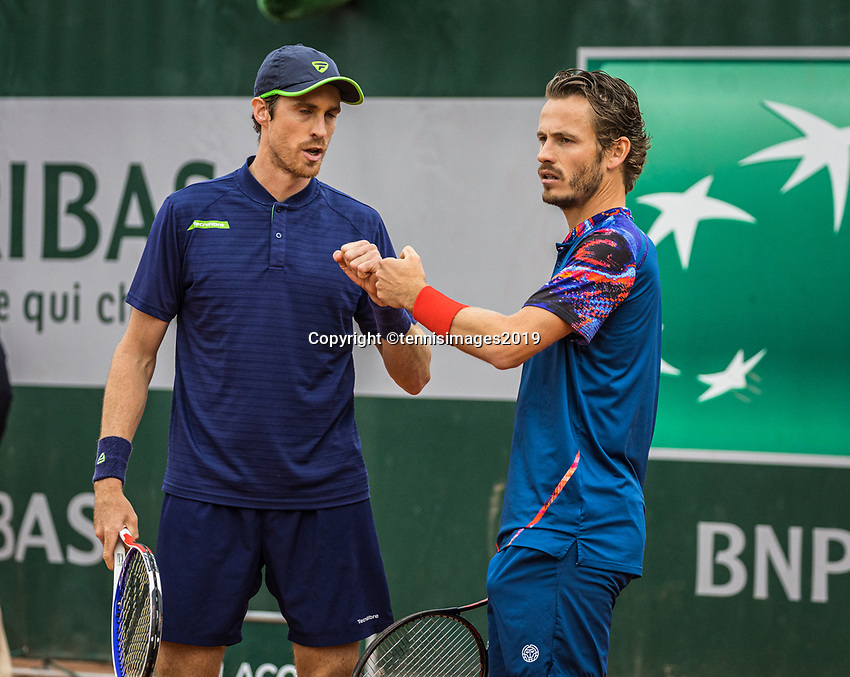 Paris, France, 30 May, 2019, Tennis, French Open, Roland Garros, Men's doubles second round: Wesley Koolhof (NED) (R) and Marcus Daniell (NZL)<br /> Photo: Henk Koster/tennisimages.com