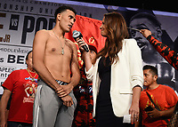 LOS ANGELES - SEPTEMBER 27: David Benavidez and Heidi Androl attend the weigh-in for the September 28 Fox Sports PBC Pay-Per-View fight night in Los Angeles, California. (Photo by Frank Micelotta/Fox Sports/PictureGroup)