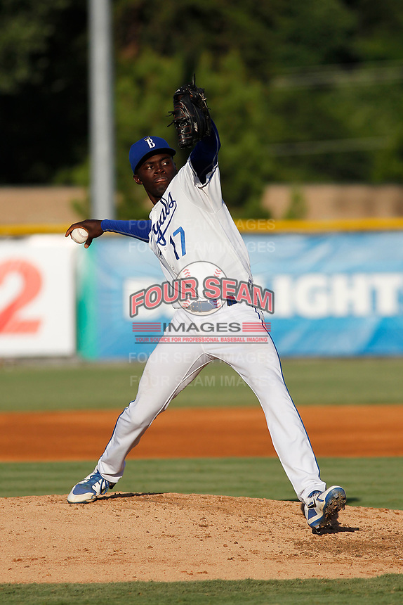 Burlington Royals pitcher Malcolm Van Buren (17) on the mound during a game against the Greeneville Reds at the Burlington Athletic Complex on July 7, 2018 in Burlington, North Carolina. Burlington defeated Greeneville 2-1. (Robert Gurganus/Four Seam Images)