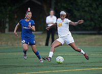 Seattle, WA - Saturday July 16, 2016: Rumi Utsugi, Jessica McDonald during a regular season National Women's Soccer League (NWSL) match between the Seattle Reign FC and the Western New York Flash at Memorial Stadium.