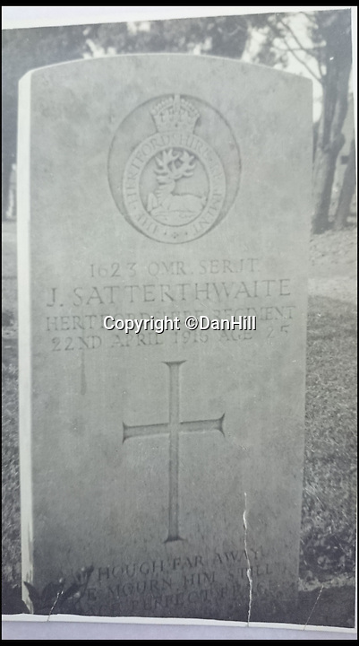 BNPS.co.uk (01202 558833)<br /> Pic: DanHill/BNPS<br /> <br /> ****Please use full byline****<br /> <br /> The grave of Jack Satterthwaite.<br /> <br /> The tragic tale of how the First World War's last victim died from his wounds 47 years after his brother was killed in the same conflict has emerged.<br /> <br /> Jack and Walter Satterthwaite fought alongside one another on the Western Front until Jack was shot and killed in battle in April 1916.<br /> <br /> His older brother Walter carried on in the trenches but was invalided out of the army after being severely wounded in the right leg a year later.<br /> <br /> Although his limb was rendered permanently immobile he recovered to lead a normal life until he went into hospital due to increasing pain from his wartime wound.<br /> <br /> He underwent surgery to amputate his left leg but died from severe blood loss.