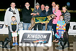 Breton Charlie,  Ballymacelligott Winner of the KGSSC Stakes Final at the Kingdom Greyhound Stadium on Friday  Tom Regan, Dan O'Sullivan, Murt Murphy, Richard Garham, Owner, James O'Regan, Trainer, Declan Dowling, Gillette O'Regan, Conor Brosnan Katie O'Regan, Molly O'Regan