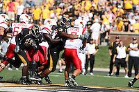 MU defensive tackle Evander (Ziggy) Hood puts the pressure on Illinois State Redbirds quarterback Luke Drone during the second half at Memorial Stadium in Columbia, Missouri on September 22, 2007. The Tigers won 38-17.