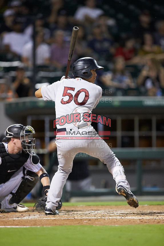 Gosuke Katoh (50) of the Scranton/Wilkes-Barre RailRiders at bat against the Charlotte Knights at BB&T BallPark on August 14, 2019 in Charlotte, North Carolina. The Knights defeated the RailRiders 13-12 in ten innings. (Brian Westerholt/Four Seam Images)