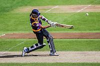 Picture by Harry Whitehead/SWpix.com - 02/05/2014 - County Cricket - Yorkshire Vikings 2nd XI v Lancashire Lightining 2nd XI - Headingley Stadium, Leeds, Yorkshire, England - Moin Ashraf hits out T20