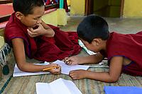 NEPAL Pokhara, tibetan refugee camp Tashi Ling, Shri Gaden Dhargyaling Monastery, young novices / NEPAL Pokhara, tibetisches Fluechtlingslager Tashi Ling, Shri Gaden Dhargyaling Monastery