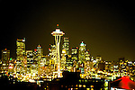 Washington, Seattle: City at Night.  Photo #: .waseat101..Photo copyright Lee Foster, www.fostertravel.com, 510/549-2202, lee@fostertravel.com