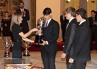 Princess Letizia of Spain, Jose Javier Cano, Juan Gonzalez, Marcus Cooper and Javier Cabanín attend the National Sports Awards ceremony at El Pardo Palace. December 05, 2012. (ALTERPHOTOS/Caro Marin) NortePhoto