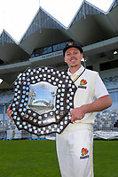 Firebirds captain Michael Bracewell with the trophy. The Wellington Firebirds celebrate winning the 2019-2020 Plunket Shield at Basin Reserve in Wellington, New Zealand on Thursday, 19 March 2020. Photo: Dave Lintott / lintottphoto.co.nz