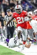 Indianapolis, IN - December 1, 2018: Ohio State Buckeyes wide receiver Parris Campbell (21) breaks a tackle during the Big Ten championship game between Northwestern  and Ohio State at Lucas Oil Stadium in Indianapolis, IN.   (Photo by Elliott Brown/Media Images International)
