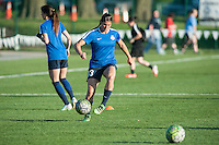 Kansas City, Mo. - Saturday April 23, 2016: FC Kansas City defender Brittany Taylor (13) warms up before hosting Portland Thorns FC at Swope Soccer Village. The match ended in a 1-1 draw.