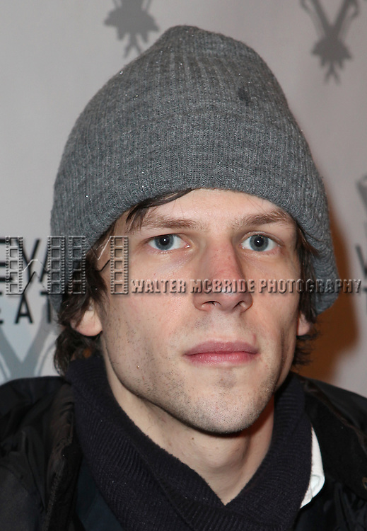 Jesse Eisenberg attending the Vineyard Theatre's 30th Anniversary Gala Celebration Cocktail Reception at the Edison Ballroom in New York City on 3/18/2013