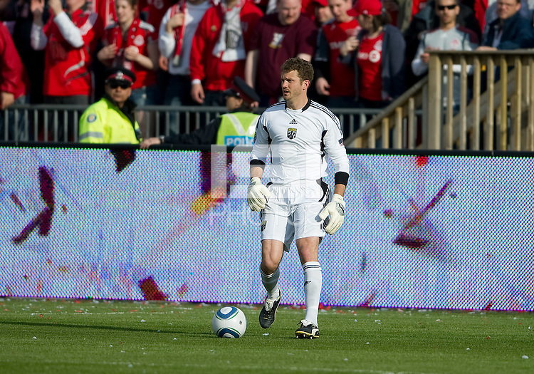 23 April 2011: Columbus Crew goalkeeper William Hesmer #1in action during a game between the Columbus Crew and the Toronto FC at BMO Field in Toronto, Ontario Canada..The game ended in a 1-1 draw.
