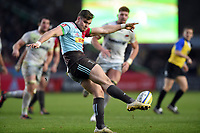James Lang of Harlequins puts boot to ball. Aviva Premiership match, between Harlequins and Saracens on December 3, 2017 at the Twickenham Stoop in London, England. Photo by: Patrick Khachfe / JMP