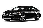 Stock pictures of low aggressive front three quarter view of 2019 Nissan Maxima SV 4 Door Sedan Low Aggressive