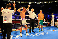 Sam Gilley (white shorts) defeats Sam Omidi during a Boxing Show at the The O2 Arena on 23rd June 2018
