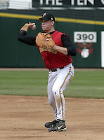 May 16, 2004:  First baseman Justin Morneau (33) of the Rochester Red Wings, Triple-A International League affiliate of the Minnesota Twins, during a game at Frontier Field in Rochester, NY.  Photo by:  Mike Janes/Four Seam Images
