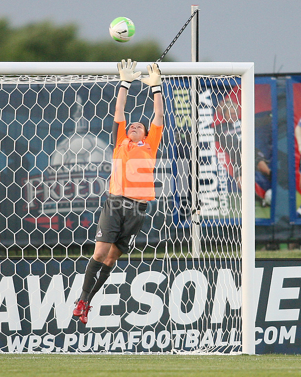 Erin McLeod #18 of the Washington Freedom makes a save during a WPS match against the Boston Breakers on May 8 2010, at the Maryland Soccerplex, in Boyds, Maryland. The game ended in a 0-0 tie.
