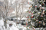 Fresh snow  and Christmas decorations at Quincy Market, Faneuil Hall Marketplace, Boston, MA