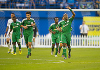 03 August 2010 Panathinaikos FC forward Djibril Cisse No. 9 celebrates his first goal during an international friendly  between Inter Milan FC and Panathinaikos FC at the Rogers Centre in Toronto..
