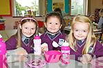 Annie Ní Chonaill, Savanga Ní Chonaill and Feithleainn Somers enjoying a snack during their first day at school in Gaelscoil Faithleann Killarney on Friday.